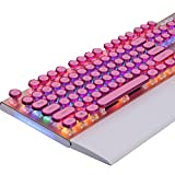 Snfgoij Mechanische Tastatur Metall Grüne Achse Retro Schreibmaschine Spiel Lol Golden Spiel Soft Material Wasserdicht Design,A