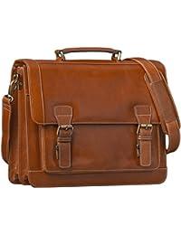 STILORD Vintage maletín Bolso del profesor de piel Retro Design 15,6'' Laptop compartimiento principal color cognac marrón