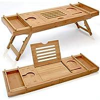 Bandeja de caddie de bañera de madera de lujo expandible - Bandeja de escritorio de cama