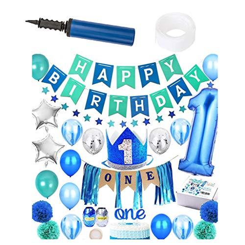 Guve 1. Geburtstag Junge Kinder Dekorationen-30 Pack Hochstuhl eine Sackleinen Dekorationen Thema Party Supplies,Blue