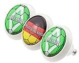 Designer Möbelknopf Set 0165 Fußball Bundesliga Bremen 3er Keramik mit moderner kuppelförmiger Oberfläche in glänzender edler Glas Optik in verschiedenen Designs und Farben Möbelknöpfe - Swami Designer Factory
