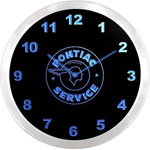 Pontiac Service Garage Indian Head 3D Neon Sign LED Wall Clock NC0460-B by LEaD Clock - Neon Clock-garage Sign