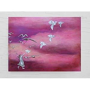 Glückwunschkarte mit Papierkranichen, pinke Geburtstagskarte für Mädchen, Grußkarte, Origami Kranich