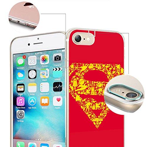 finoo | iPhone 8 Weiche flexible Silikon-Handy-Hülle | Transparente TPU Cover Schale mit Motiv | Tasche Case Etui mit Ultra Slim Rundum-schutz |Flash logo Superman logo icons