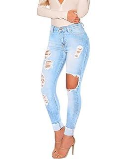 06f8d8acf23d ZongSen Femme Jeans Déchirés Troué à Taille Haute en Denim Slim Pantalons  Destroy Troué Pantalons