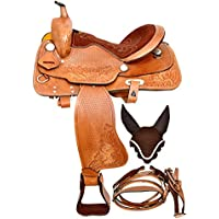 """Manaal Enterprises Child Youth Pony Leather Western Horse Saddle + Headstall, Breast Collar Size 10"""" to 12.5"""" inch Seat Available (Brown&Black) (12.5 inches)"""