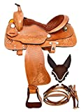 Manaal Enterprises Child Youth Pony Leather Western Horse Saddle + Headstall, Breast Collar Size 10