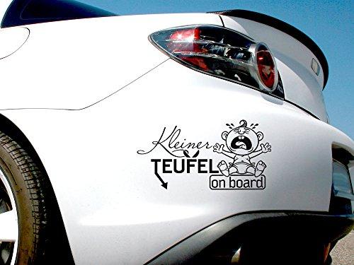 GRAZDesign 745038_10_070G Auto-Aufkleber Baby fürs Auto Spruch Kleiner Teufel on Board | Geschenk zur Geburt - Heckscheiben-Aufkleber (19x10cm//070 schwarz)