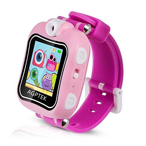 """Kinder Smart Armbanduhr 128MB Speicher, 1,5"""" Touchscreen mit 90 Grad drehbare Kamera, Video, Aufnahme, Spiele, Stoppuhr, Wecker, von AGPTEK, Pink"""