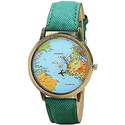 Sunnywill Neue Global Travel durch Flugzeug Karte Frauen Kleid Denim Stoff Uhrenarmband für Frauen Mädchen Damen