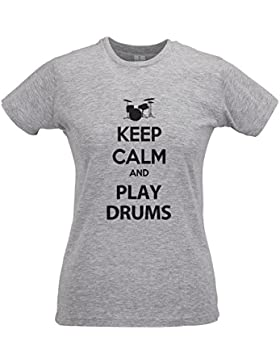 LaMAGLIERIA Camiseta Mujer Slim Keep Calm and Play Drums Black Print - T-Shirt 100% Algodòn Ring Spun