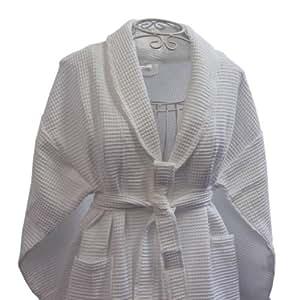 homescapes peignoir homme et femme classique kimono nid d 39 abeille avec col ch le blanc taille l. Black Bedroom Furniture Sets. Home Design Ideas
