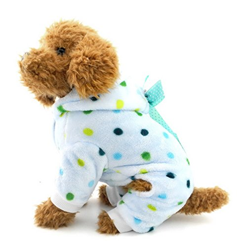 er Hund Fleece Schlafanzüge Dots Puppy Outfits Hoodies Weiche Cozy PJ Vierbein Pet Jumpsuit Lovely Chihuahua Kleidung (Air Force Party Supplies)