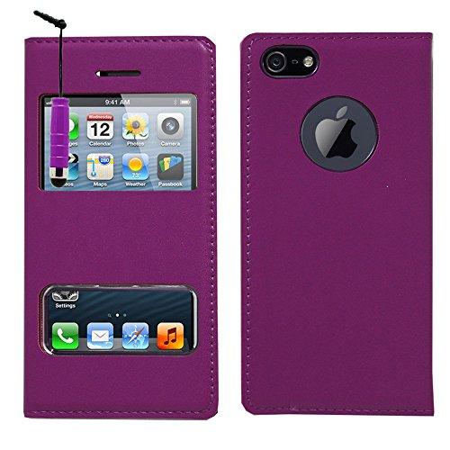 VCOMP® PU-Leder Schutzhülle mit Sichtfenster für Apple iPhone 6/ 6s + Mini Eingabestift - DUNKELBLAU VIOLETT + Mini Eingabestift