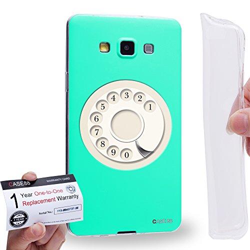 Case88 [Samsung Galaxy A7 (A700)] Gel TPU Hülle / Schutzhülle & Garantiekarte - Art Hand Drawing Aqua Retro Phone Art2085 A700 Cell Phone