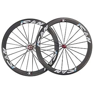 ICAN 50mm Carbone Route Vélo Clincher de Roues 20/24 Trous Shimano 10/11v