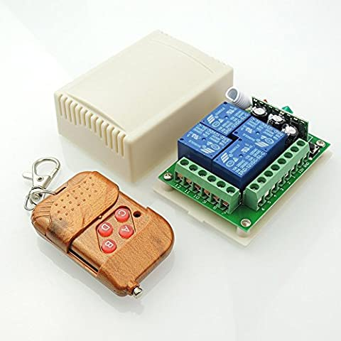 uniquegoods Nouveau 12V Portable 4 canaux Télécommande sans fil Récepteur de commutateur Momentary