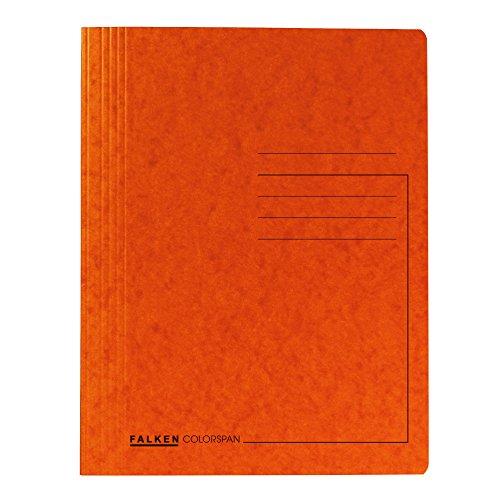 Falken Das Original Premium Schnellhefter aus extra starkem Colorspan-Karton für DIN A4 kaufmännische Heftung orange Hefter ideal für Büro und Schule