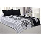 Kuber Industries Guitar And Star Design 180 TC Satin Double Bedsheet With 2 Pillow Covers - King Size, Black And White