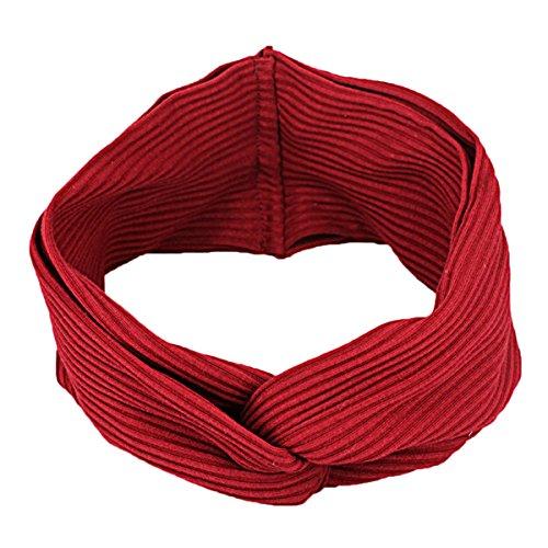 TININNA Femmes Yoga Accessoire Bandeau Turban Large Bande de Cheveux Courir Twist Serre-tête Head Wrap Vin Rouge