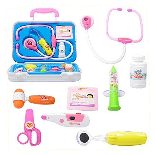 Xshuai 16 * 24 * 6 cm 10 stücke Kinder Baby Arzt Medizinische Play Carry Set Fall Bildung Rolle Spielen Spielzeug Für Weihnachtsgeschenk (Weiß)