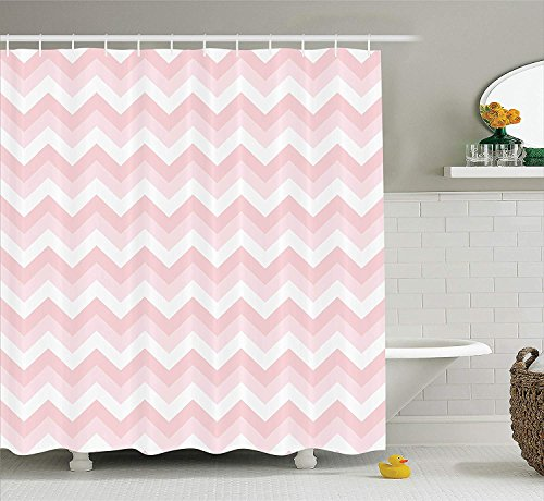 Presock Duschvorhänge, Chevron Decor Shower Curtain Set, Zigzag Chevron Grunge Pattern Soft Light Colors Simplicity Artful Design, Bathroom Accessories, 60X72 Inch