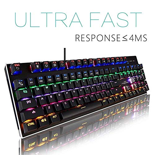 Mechanische Tastatur[vedio]-Regenbogen-Gaming Backlit Wired Gaming Keyboard-104, Tasten mit voreingestellten und anpassbaren Lichteffekten für PC-und Mac-Gamers-Pro-Spieler (QWERTY Layout)