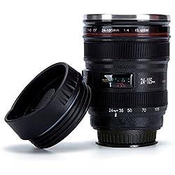 Everteco Taza de lente cámara, Taza de Café de Succión, Taza Viajero de Café, Taza de Acero Inoxidable, Termo de Viaje – Capacidad de 320 ml