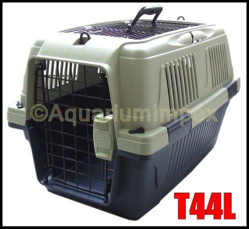 DeLuxe PLUS Transportbox Autobox Namenschild 2x Türen T44L blau Hundebox Hunde Katzenbox -