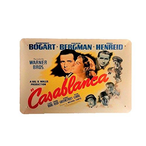 Cartel de chapa vintage Decoración, Letrero A4 Estilo Antiguo de metálico Retro - Casablanca