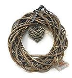 Weiden-Kranz mit hängenden Herz, Vintage-Look Beleuchtet 20LED Lampen mit 3AA-Batterien Durchmesser: 30 - 35 cm