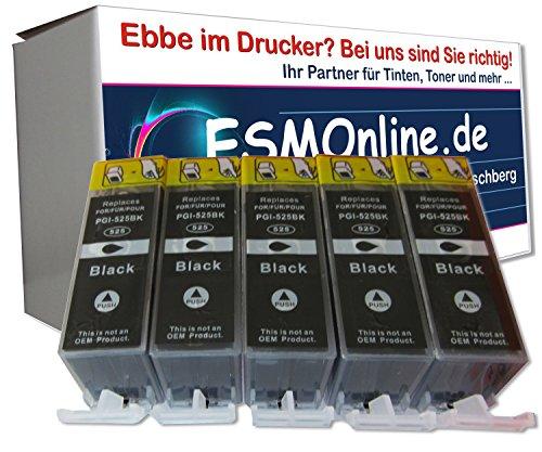 ESMOnline 5 komp. schwarze Druckerpatronen als Ersatz für Canon Pixma MG5100 Pixma MG5150 Pixma MG5200 Pixma MG5250 Pixma MG5300 Pixma MG5350 Pixma MG6150 Pixma MG6250 Pixma MG8150 Pixma MG8250 Pixma MX715 Pixma MX885 Pixma MX895 Pixma IP4850 Pixma ip4950