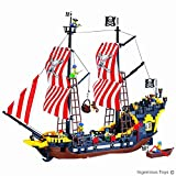 Large pirate Ship with mini figures pirates - compatible building block construction toys (308)