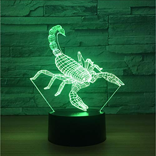 Neuheit Skorpion LED 3D Nacht Ligh Kreative Tischlampe Weihnachtsbeleuchtung Led Lampe 3d Illusion Dekorative Atmosphäre lampe