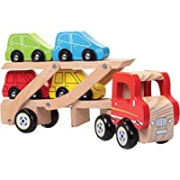 Wooden Transporting Truck Detachable Trailer & 4 Cars Set Kids Fun Play Toy 29cm