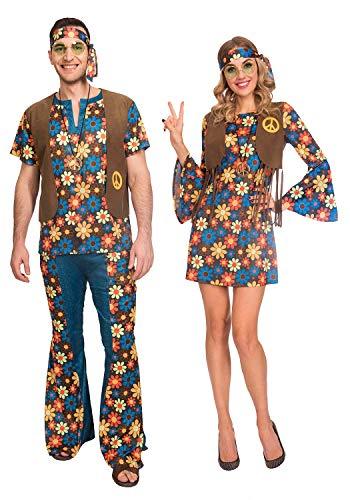 Fancy Me Paar-Kostüm für Damen und Herren im Vintage-Stil mit Blumenmuster im Hippie-Stil der 60er Jahre und 70er Jahre (70er Jahre Kostüm Für Paare)