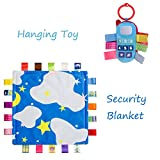 INCHANT Baby-Spielzeug-Geschenk-Set - Soft Taggie Tröster / Sicherheit Decke und Spaziergänger Plüsch-Geklapper-Spielzeug, Blau