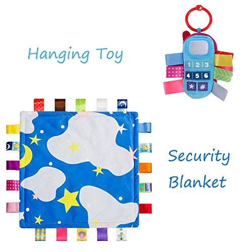 INCHANT Baby-Spielzeug-Geschenk-Set - Soft Taggie Tröster / Sicherheit Decke und Spaziergänger Plüsch-Geklapper-Spielzeug, Blau Bett, Bettdecke Und Co