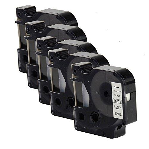 OYAT® kompatibel zu 12 mm x 7 m Dymo 45013 Etikettenband Schwarz auf Weiß für Dymo-Labelmanager (5x Schwarz auf Weiß)