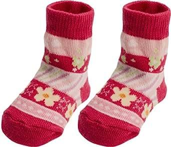 Playshoes Unisex Baby Socken Erstlingssocke Blümchen, Gr. One size (Herstellergröße: 0-3 Monate), Rosa (pink 18)