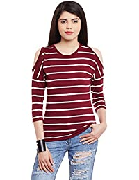 04dca63e0c102 Hypernation Maroon and White Color Cotton Cold Shoulder Top for Women