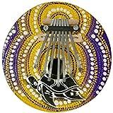Karimba Kalimba Mbira okemi africanthumb Piano de nuez de coco Dibujo Aboriginal Multicolor, tartaruga giallo viola