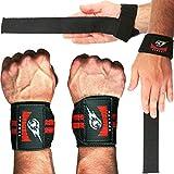 Combo Lifting Straps + Wrist Wraps Polsi Cinghie Fasce per Stacchi Palestra Fitness Polsini da polso Per Sollevamento, Bande Peso Supporto Bodybuilding, Sicuro Grip e Support