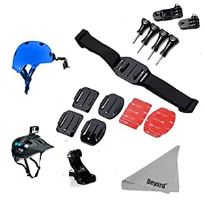 Deyard Helmet Strap with J Hook Mount and Pivot Arms +Flat &Curved Adhesive Mounts +4pcs Thumbscrews +Deyard LCD Cleaning Cloth for GoPro HD Hero 2 3 3+ 4 Hero4 Session and Other Action Cameras