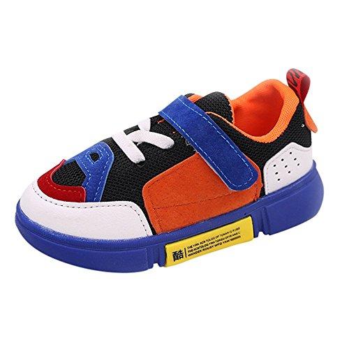 SOMESUN Baby Jungen Mädchen Sportschuhe Kinder Modisch Weiche Elastisch Atmungsaktiv Mesh Bunt Tennisschuhe Freizeit Outdoorschuhe Laufen Sneaker (EU24 / CN25, Blau)