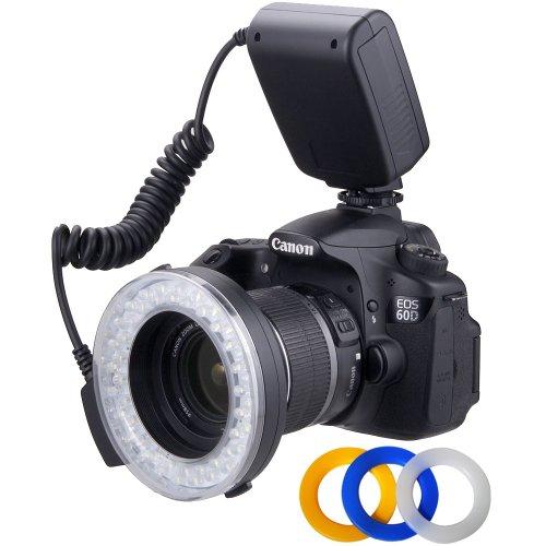 Polaroid 48-Makro-LED-Ringblitz und Licht- 4-Diffusoren (transparent, warm, blau, weiß) für die Olympus E-30, E-300, E-330, E-410, E-420, E-450, E-500, E-510, E-520, E-600, E-620, E-1, E-3, E-5Digital-SLR-Kameras (passt auf 49,52,55,58,62,67,72,77mm Objektive)