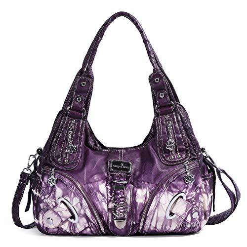 angel kiss Damen Handtasche Lässige Schultertasche Umhängetaschen Hobo Taschen Henkeltaschen Leder für Arbeit Schule Shopper (AK11282Z-Violett) -