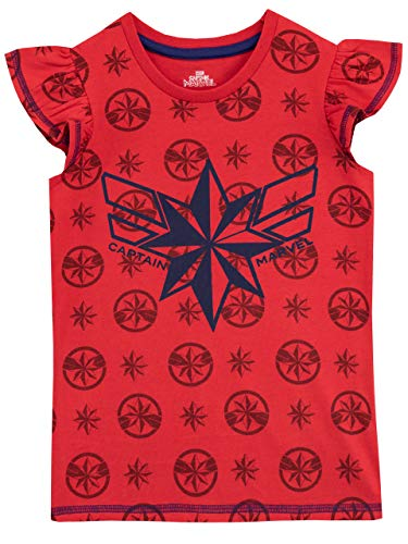 Disney Tee Kostüm - Disney Mädchen Captain Marvel T-Shirt Rot 134