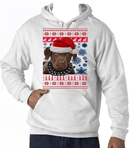 Teesquare1st Men's SANTA BROWN LABRADOR CHRISTMAS White Hoodie Size Large