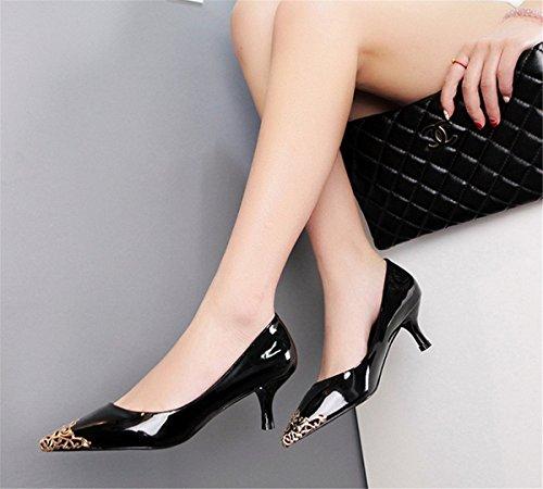 LOBTY Damen Geschlossene Pumps High Heels Pumps Sandalen damen mit absatz Abendschuhe Strap Schuhe Weiß Schwarz Lila 5 cm hohen Absatz Schwarz